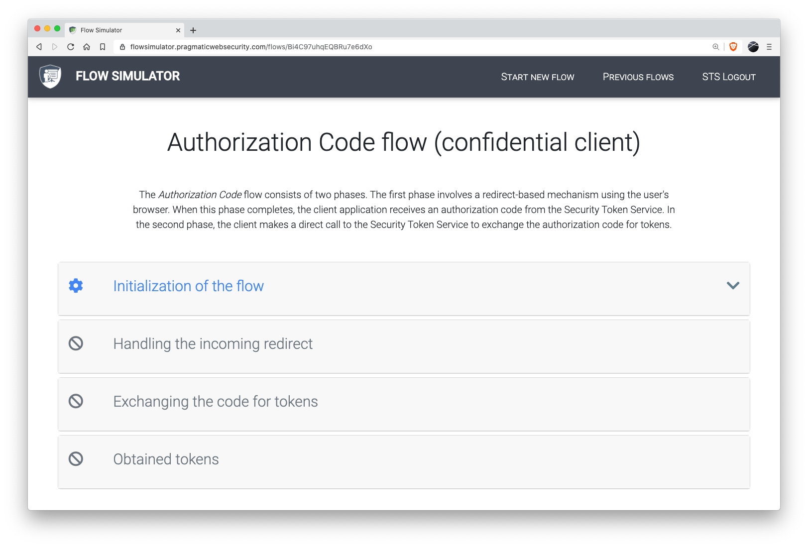 The Flow Simulator visualizes the different steps in an OAuth 2.0 / OIDC flow